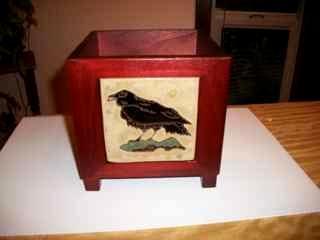 Raven - Handmade Tile on Planter Box