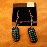 Fused Glass Earrings with Sterling Silver Hooks