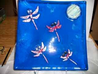 Dragonflies - fused glass plate