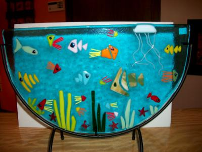 Ocean Fishes  -  Fused Glass with Half-moon Stand