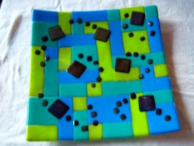 Blue/Green Checkers - fused glass plate