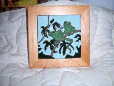 Two Frogs -framed handmade tile