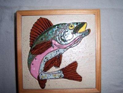 Trout - framed handmade tile