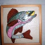 Trout - framed handmade tile