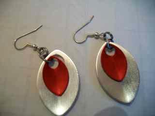 Scaled anodized aluminum earrings
