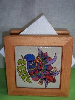 Peace Dove - handmade tile on napkin holder
