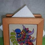 Peace Dove - handmade tile on napkin holder