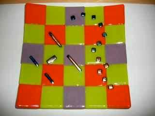 Colorful Squares - Fused Glass Plate