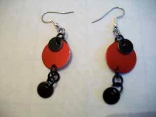 Red/Black Disc Earrings