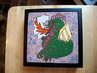 Dragon - handmade tile on box