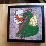 Dragon - handmade tile on box