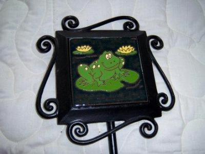 Lily Pad Frog - handmade tile on garden stake