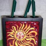 Sun  -  handmade tile on pen and pencil holder