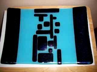 Teal Rectangular  - fused glass platter