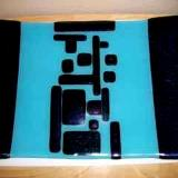 Teal Rectangular  - fused glass platter