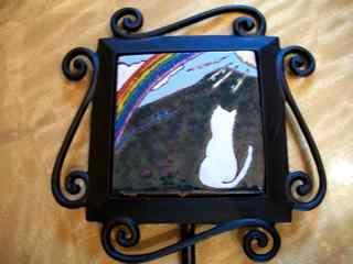 Rainbow Bridge Cat - handmade tile on a garden stake