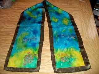 Bordered Dragonfly Silk Scarf
