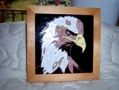 Eagle - framed handmade tile
