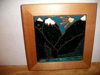 Olympic Mtns - Handmade tile framed