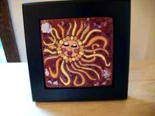 Sun -framed handmade tile