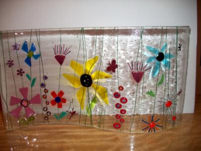 Flower Wavy - freestanding fused glass