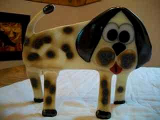 """""""Bow Wow"""" - Freestanding fused glass dog"""