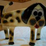 """Bow Wow"" - Freestanding fused glass dog"