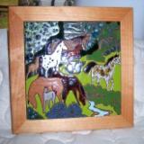 Horses in Pasture - framed handmade tile