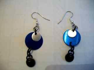 Blue/Silver Disc Earrings
