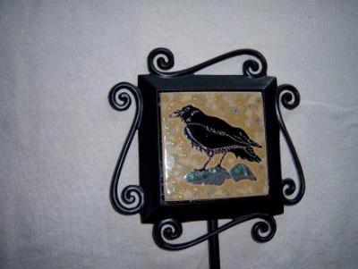 Raven -handmade tile on garden stake