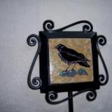 Raven -handmade tile on garden stake
