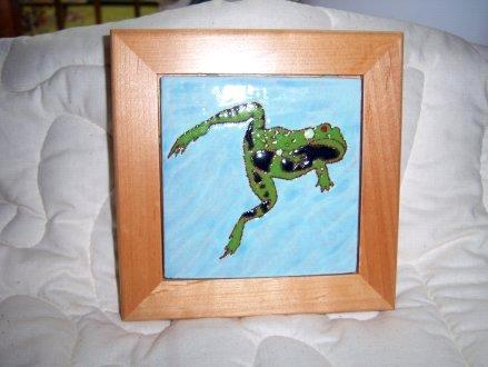 Leaping Frog - framed handmade tile
