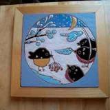 Snowbirds -framed handmade tile