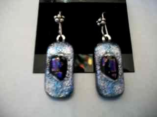 Silver colored Fused Glass Earrings