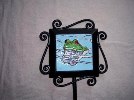 Reflective Frog -handmade tile on garden stake