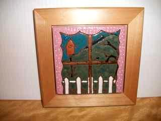 View from Kitchen Window- Handmade tile framed