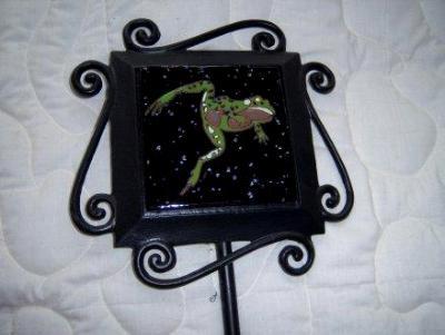 Leaping Frog - handmade tile on garden stake