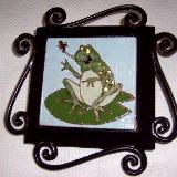 Hungary Frog - handmade tile on garden stake
