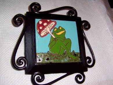 Toadstool Frog - handmade tile on garden stake