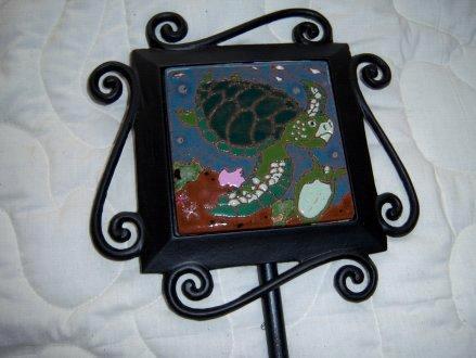 Turtle - handmade tile on garden stake