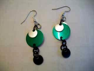 Green/Silver Disc Earrings