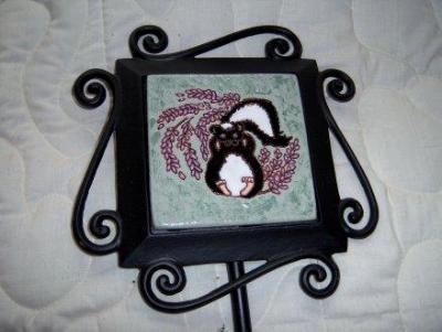 Skunk in Lavender -handmade tile on garden stake