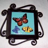 Butterflies - handmade tile on garden stake