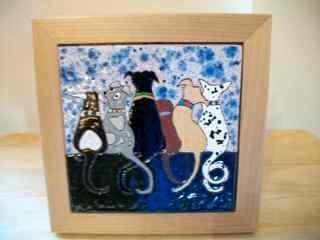 Dog Love - framed handmade tile