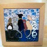 Dog Love - framed handmade tile