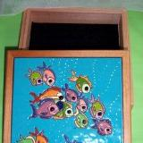 Swimming Fishes - handmade tile on box