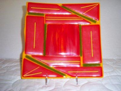 Orange Retro - fused glass plate