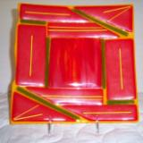 Orange Retro - fused glass plate