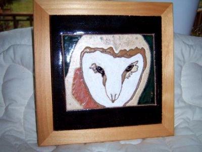 Barn Owl -framed handmade tile