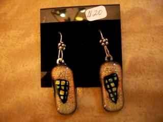 Golden Fused Glass Earrings